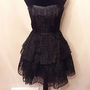 Betsey Johnson Strapless Black Eyelet Tutu Dress